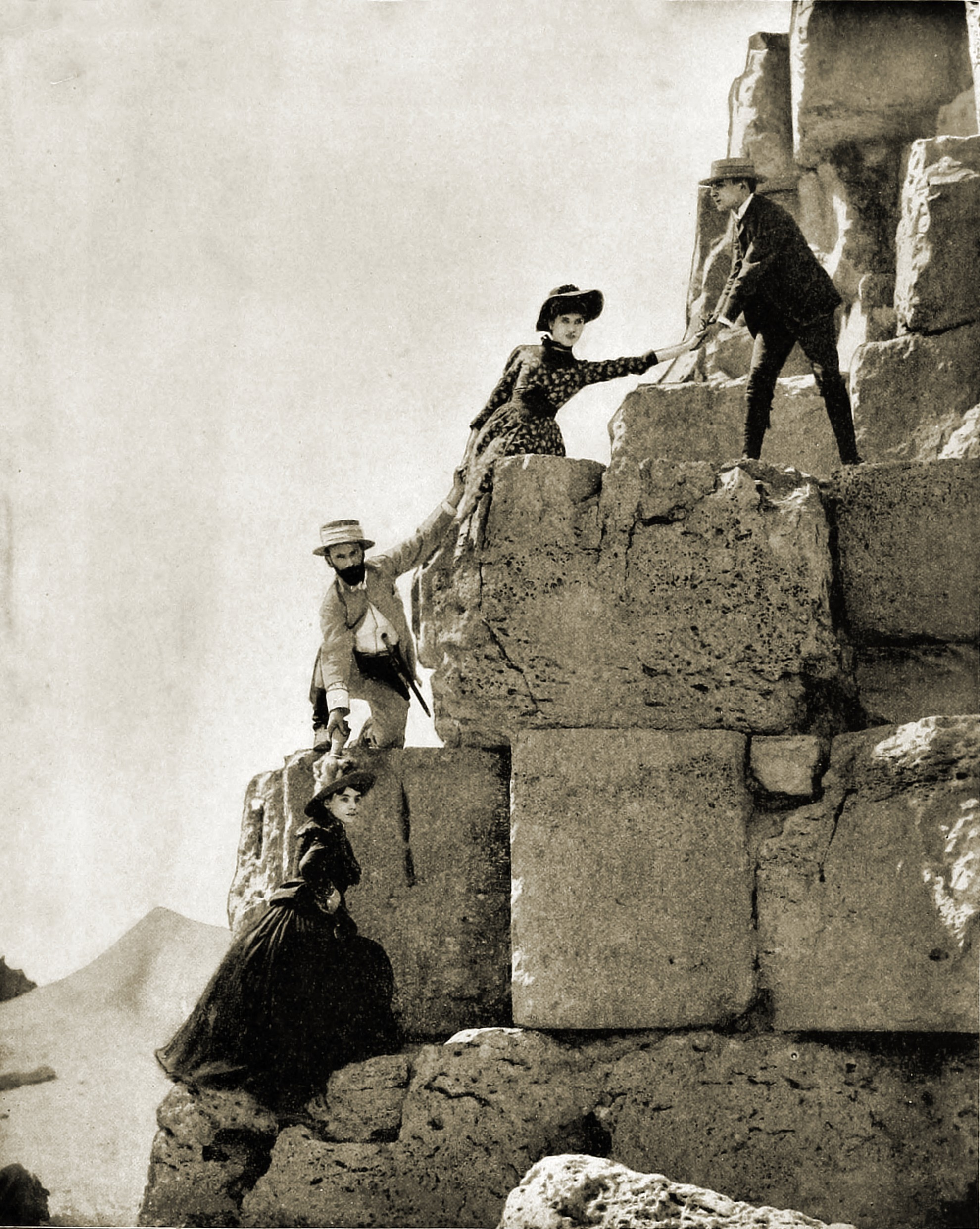 Climbing the Great Pyramid of Giza Egypt about 1892