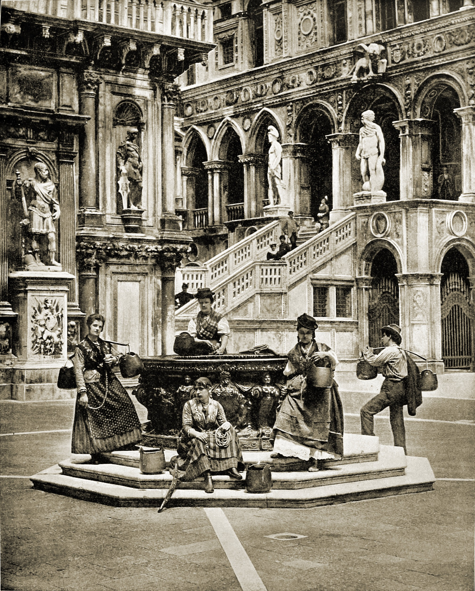 Ducal Palace Courtyard Venice Italy about 1892