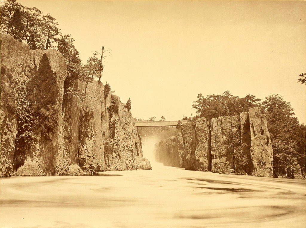 The Great Falls of the Passaic River, Paterson (New Jersey) by J. Reid about 1866