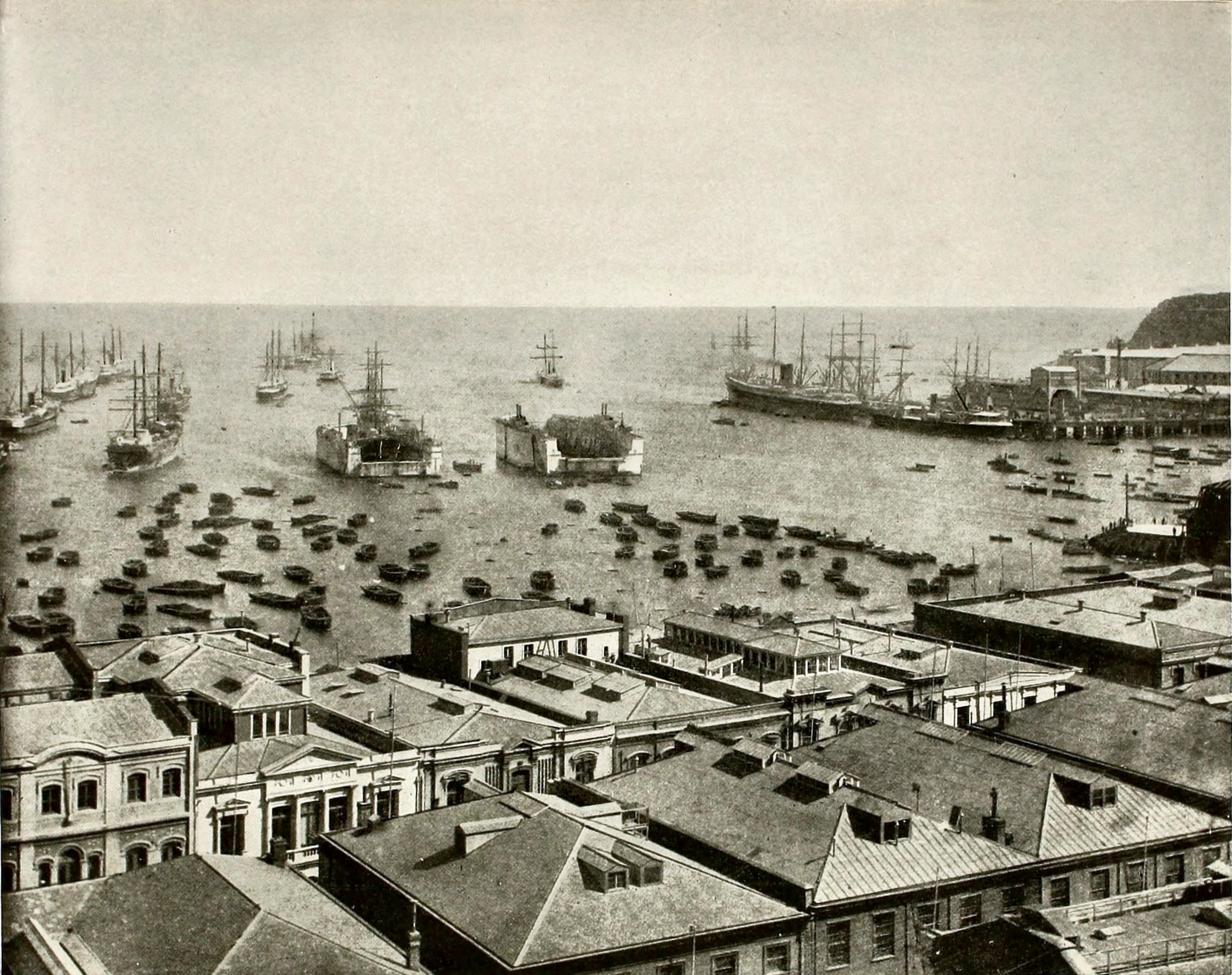 Valparaiso Harbor Chile about 1892