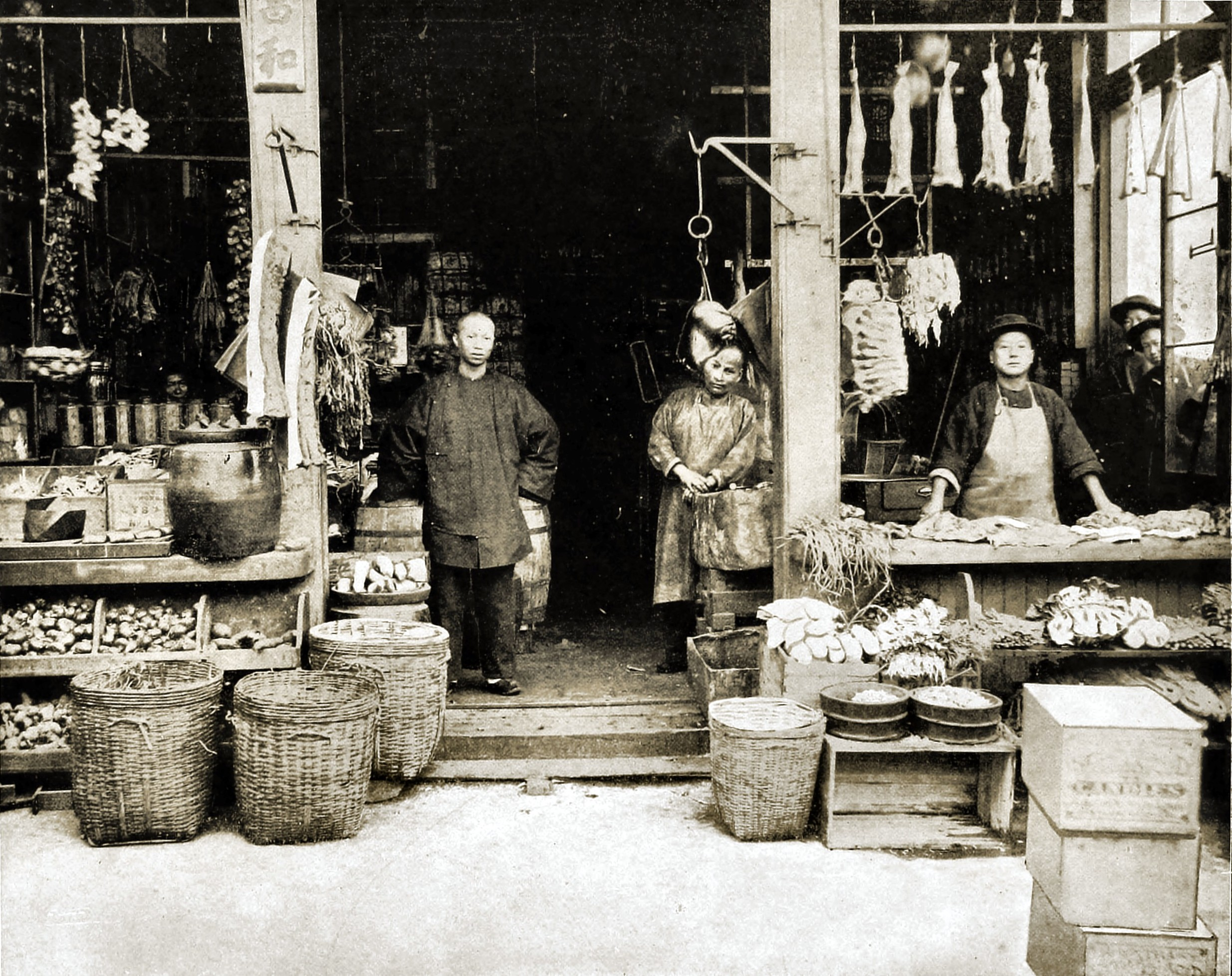 Chinese Shop in Chinatown, San Francisco, California, USA about 1892