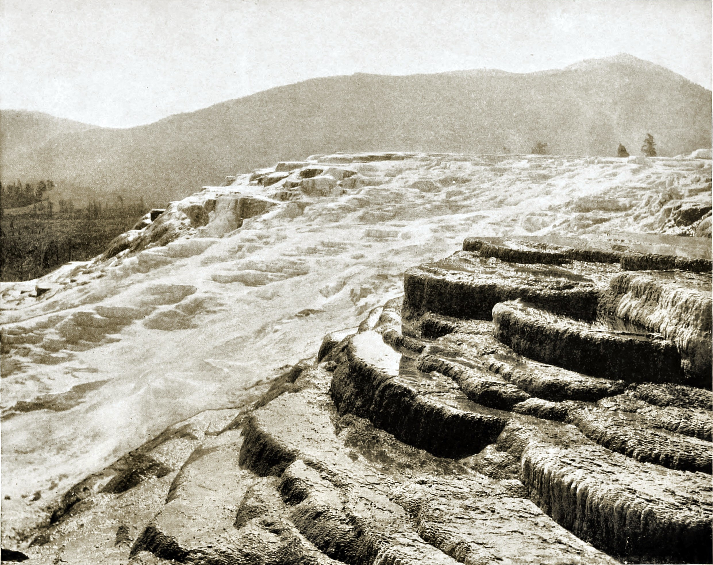 Mammoth Hot Springs, Yellowstone National Park, USA about 1892