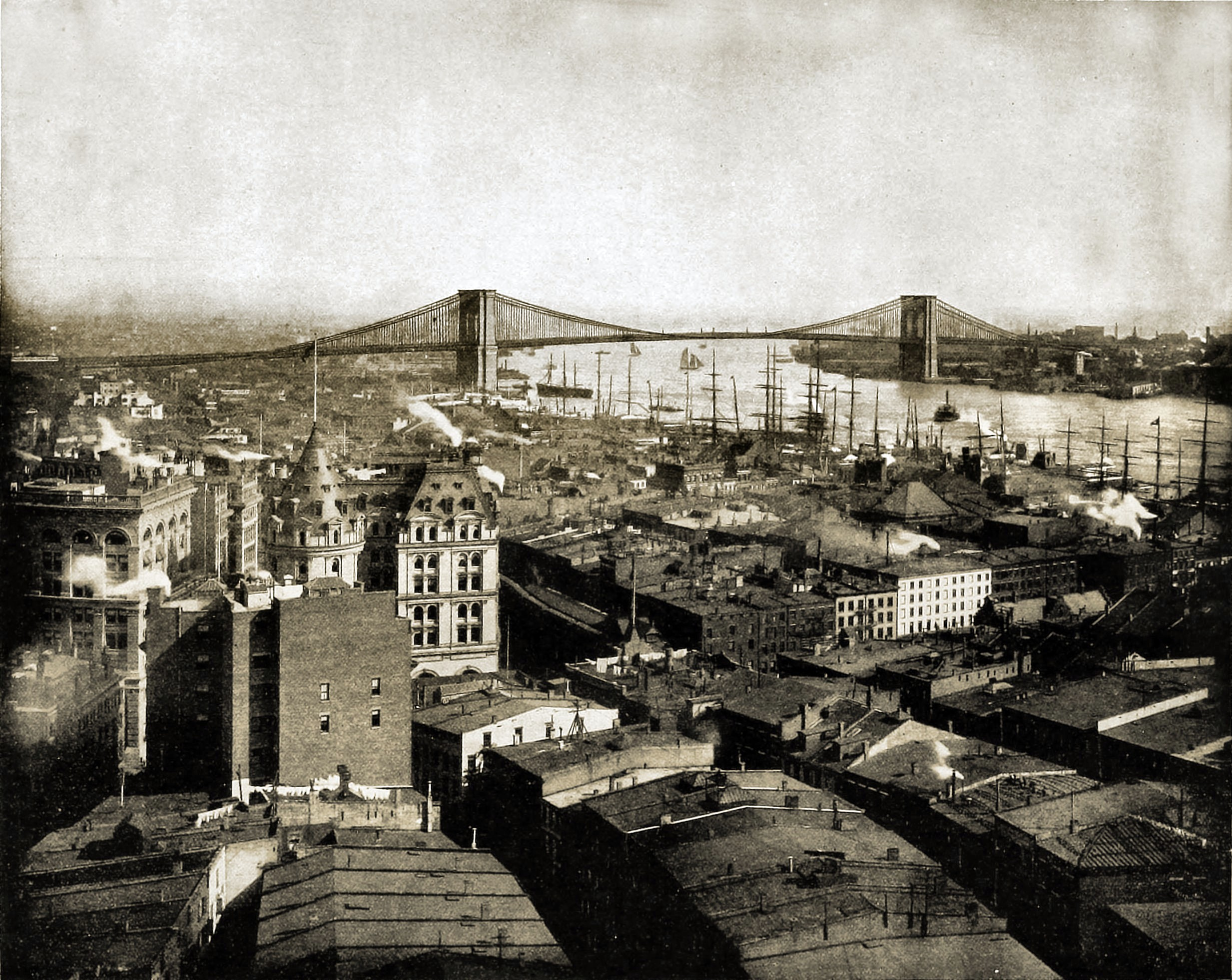 New York and Brooklyn Bridge, USA about 1892