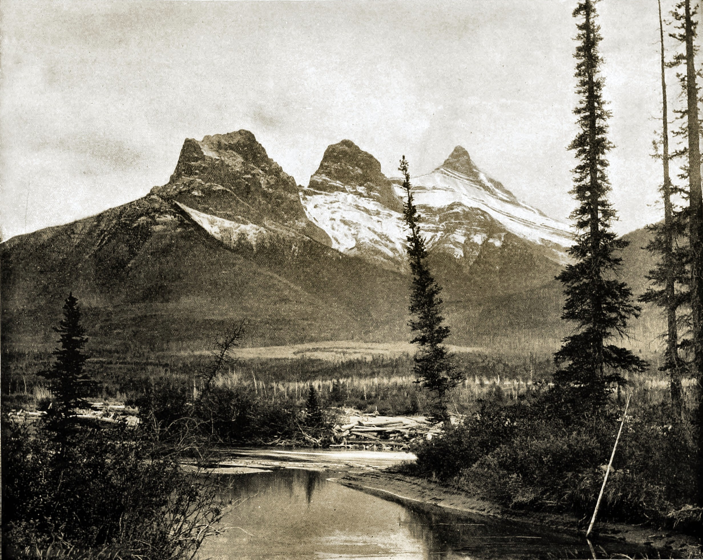 The Three Sisters, Canmore, Canada about 1892