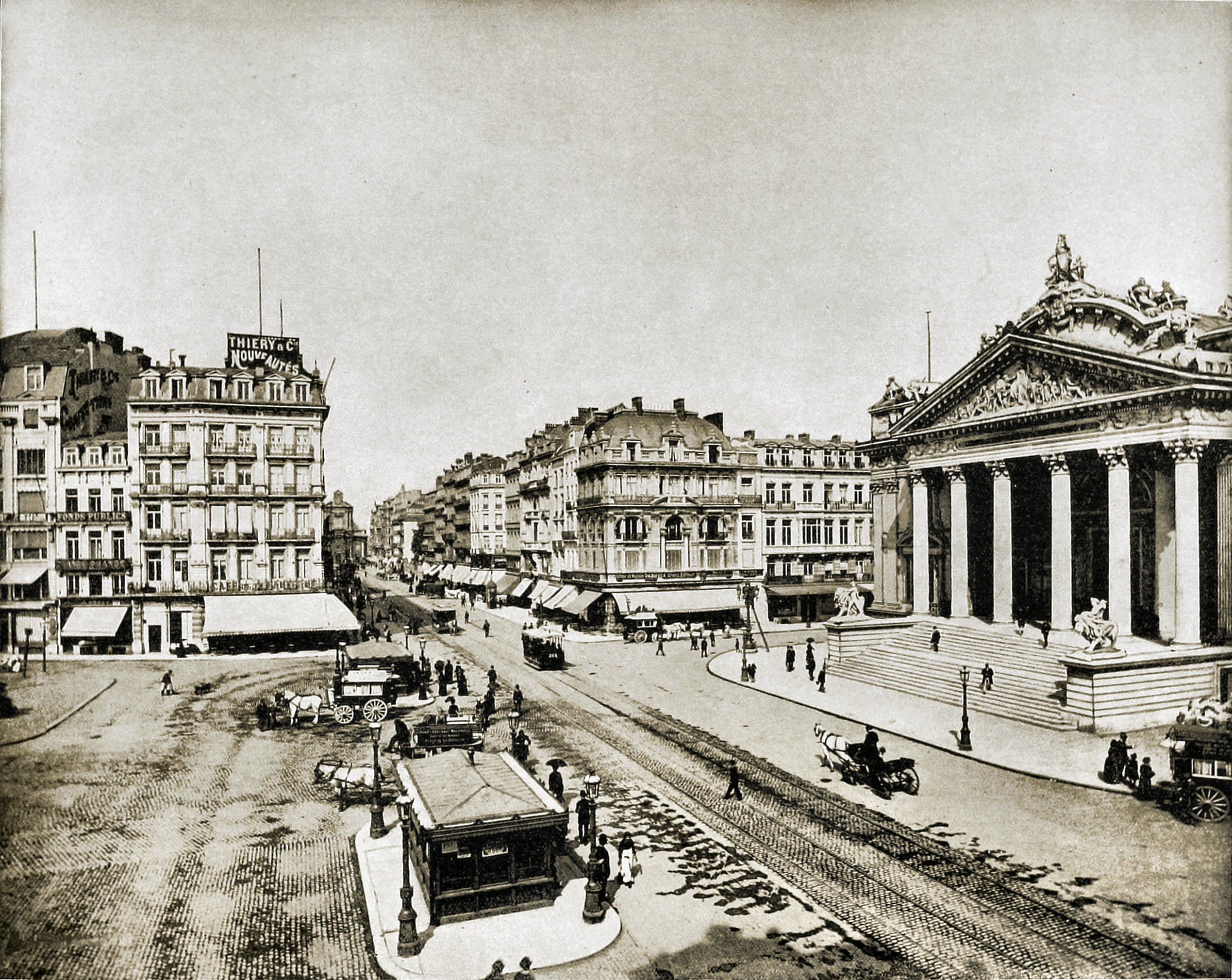 Boulevard Anspach, Brussels, Belgium about 1892