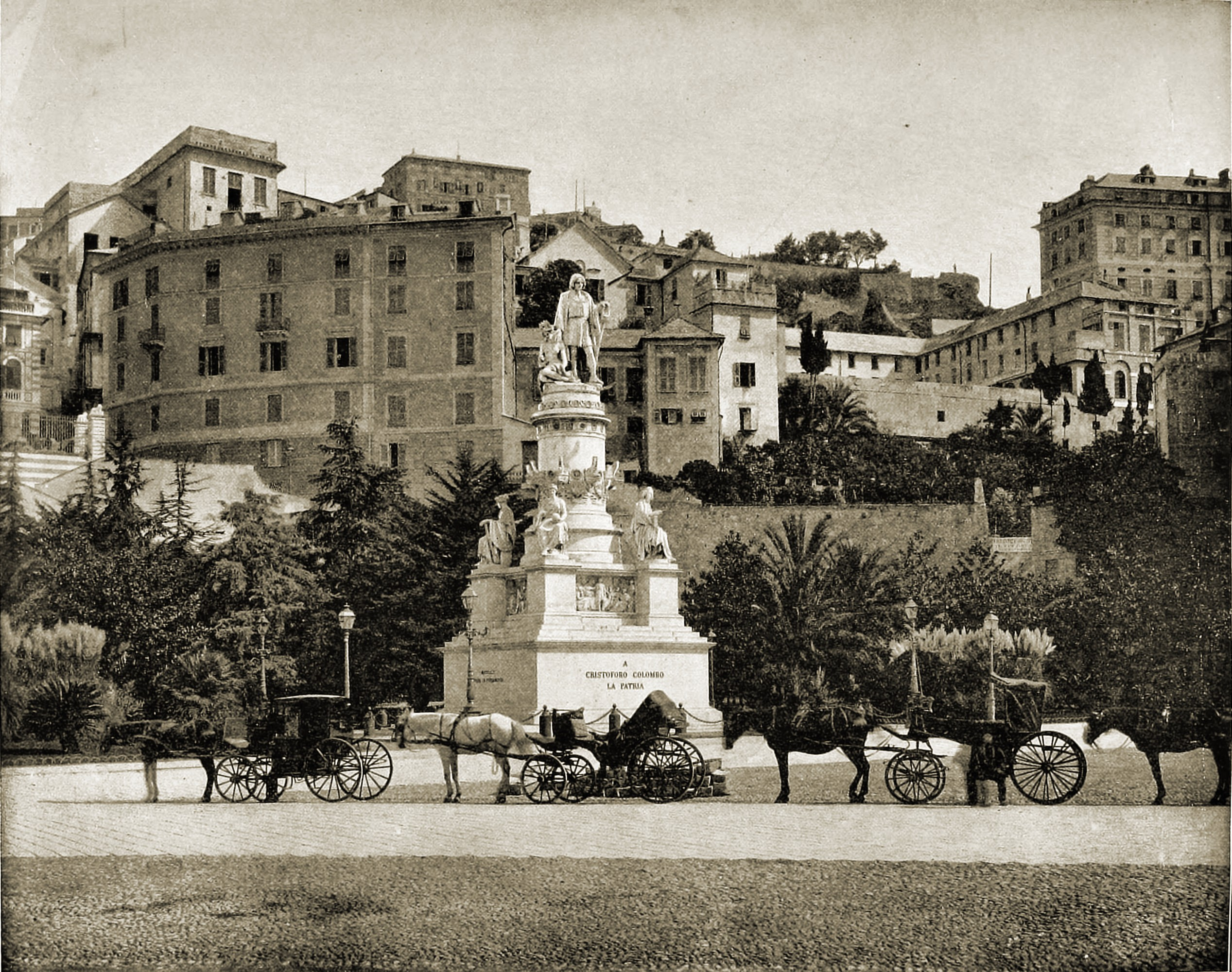 Christopher Columbus Statue Genoa Italy about 1892