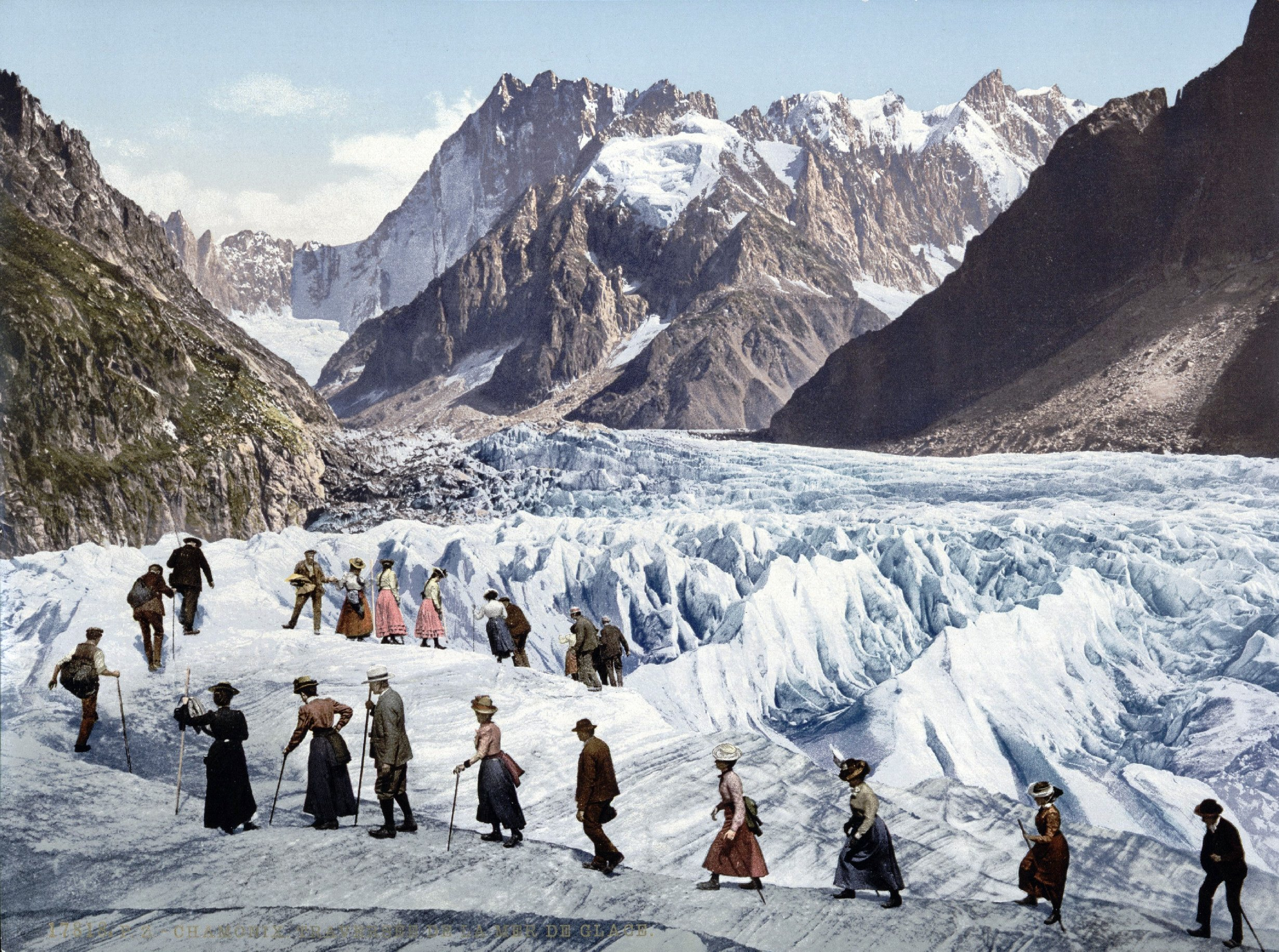 Crossing Mer de Glace France about 1903