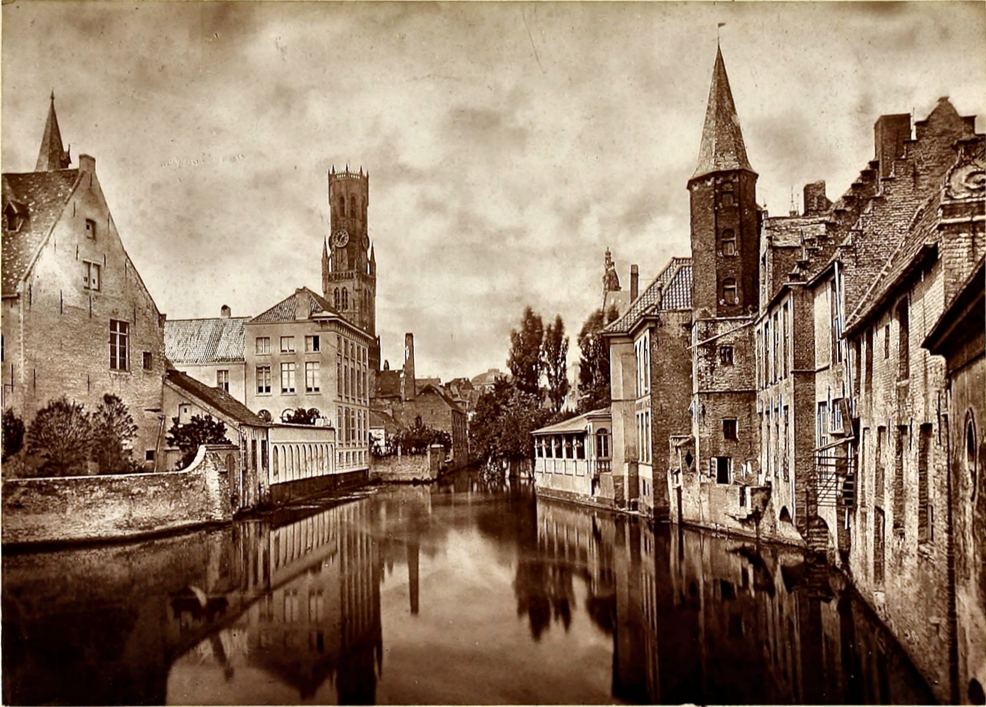 The Belfry at Bruges, Belgium about 1875 by Stephen Thompson