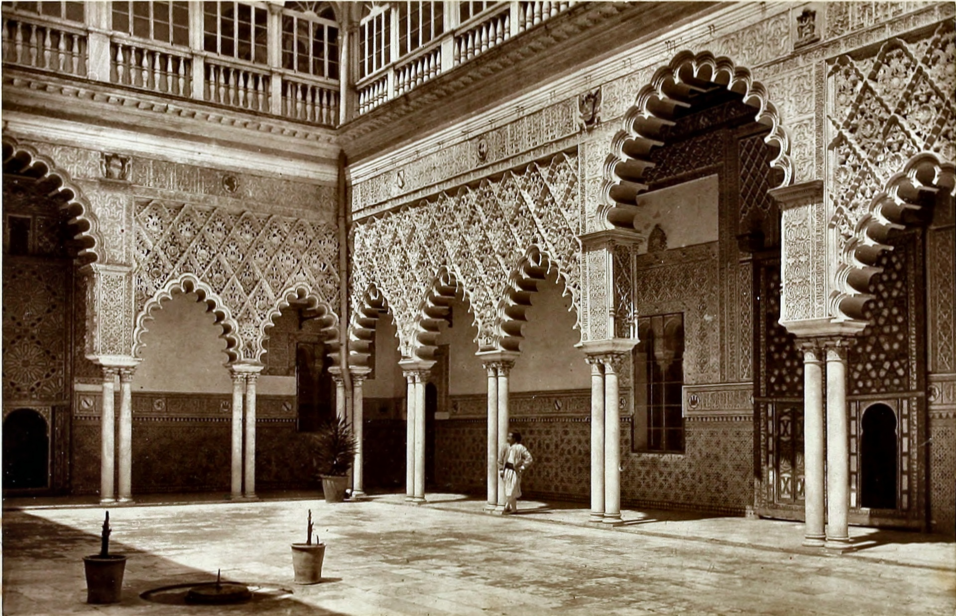 Courtyard of the Alcazar, Seville, Spain about 1875