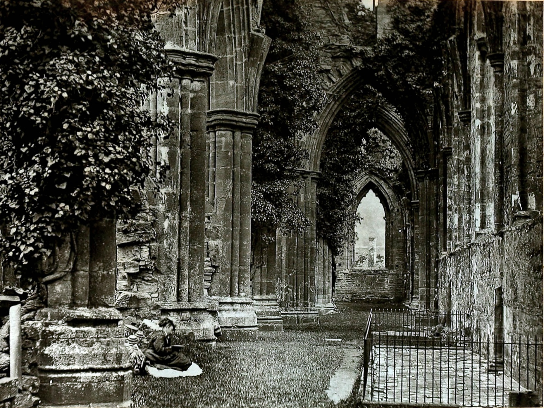 Reading at Tintern Abbey, Wales about 1875 by King