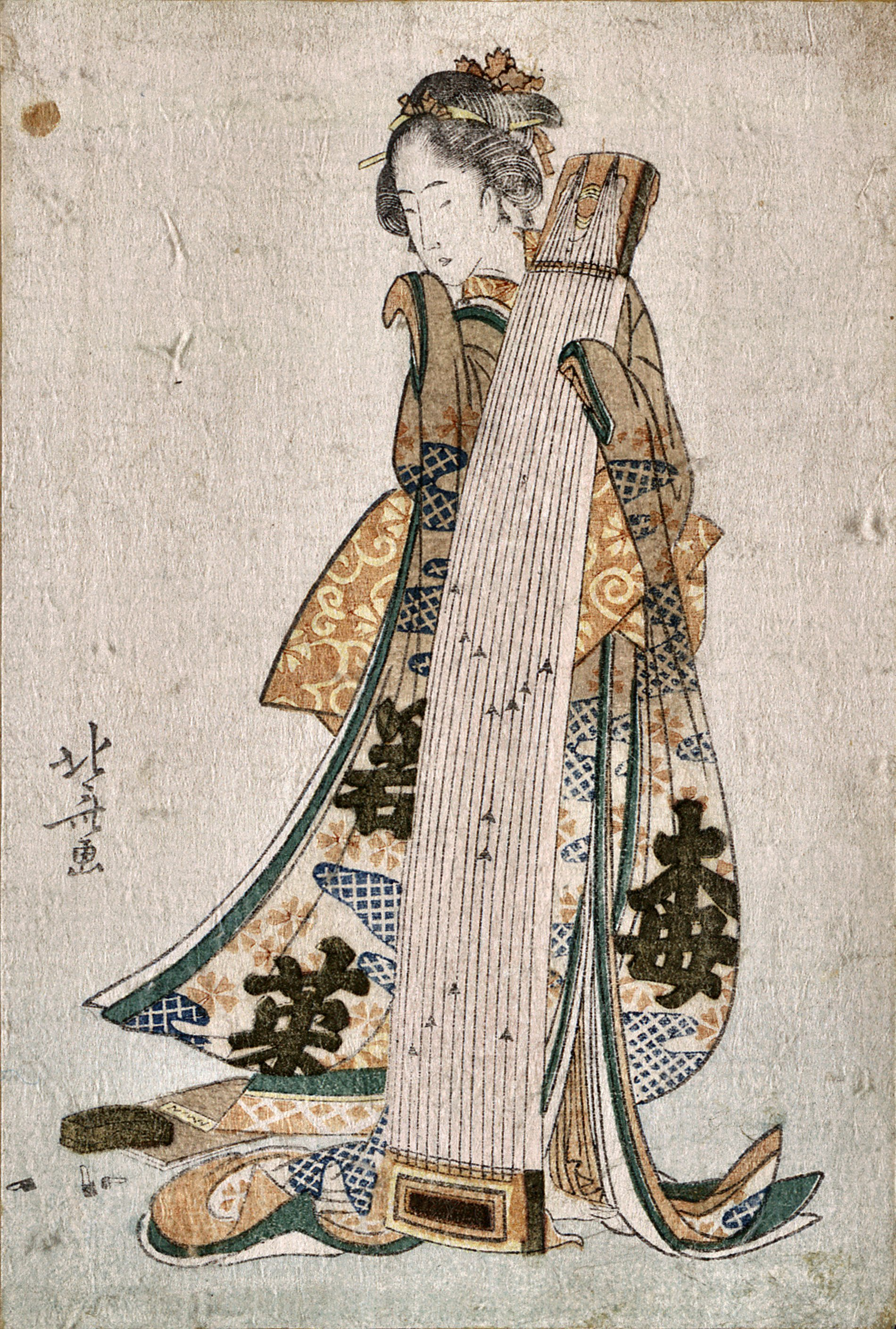 Young maiden holding a zither about 1800 by Katsushika Hokusai (1760 – 1849)