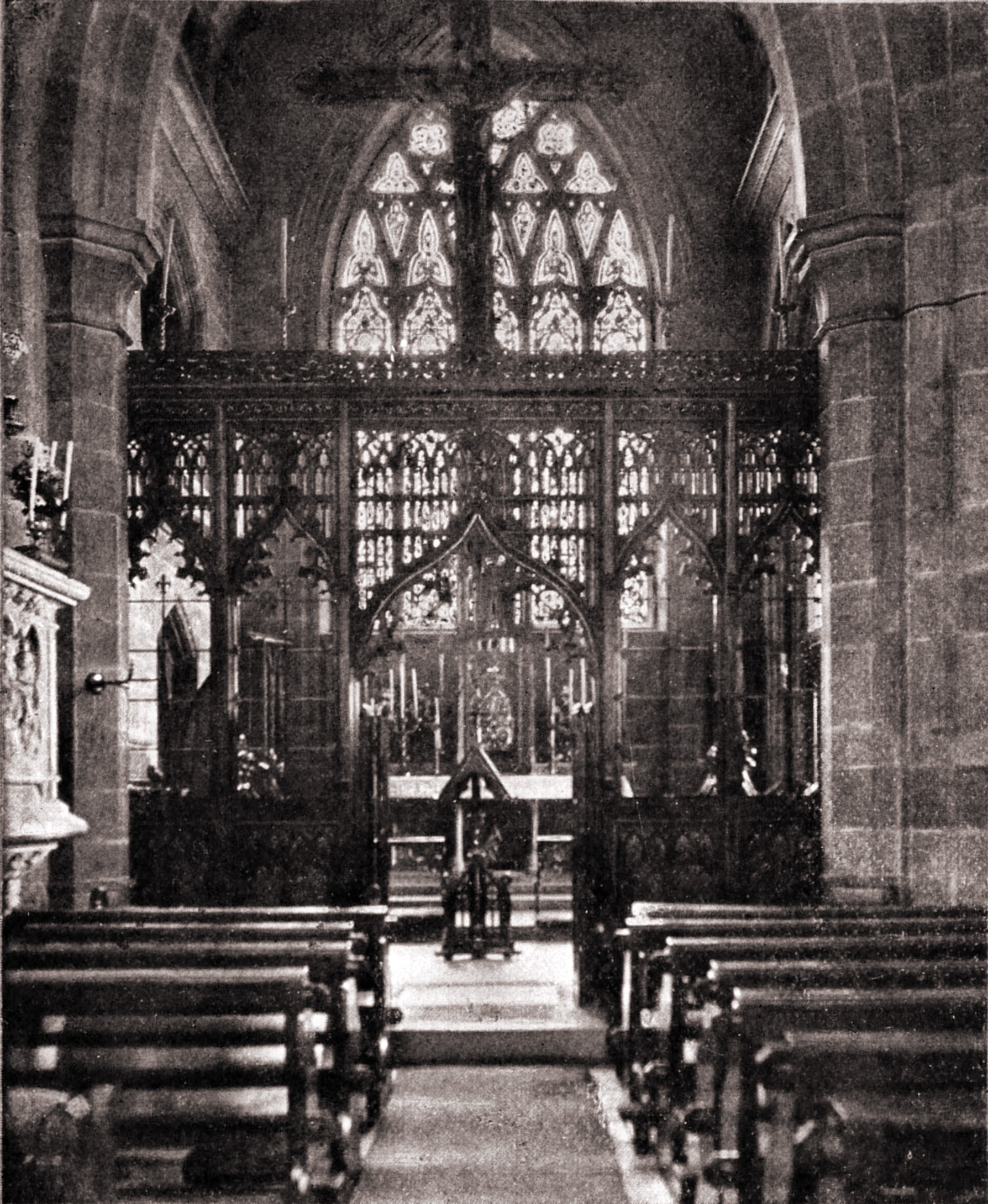 Rood screen and high altar, St Augustine's Church, Ramsgate, England by A. Lockett about 1923