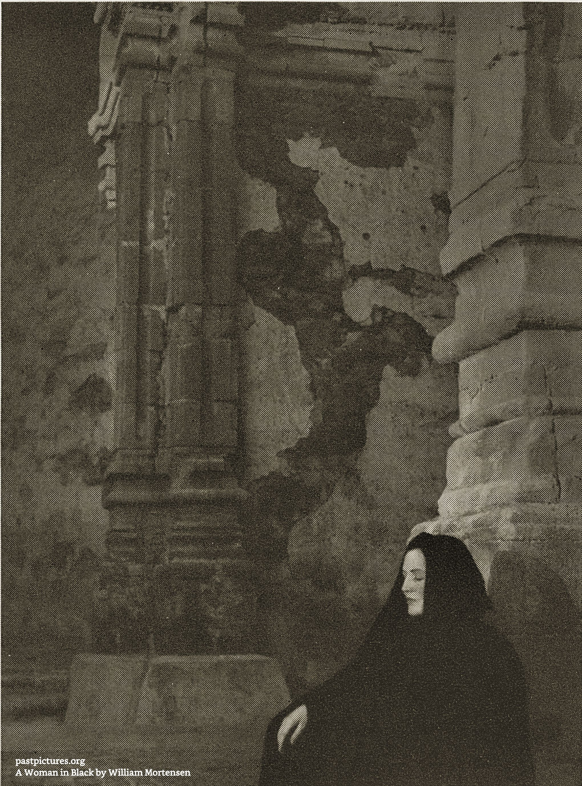 A Woman in Black by William Mortensen about 1930 (2 photos)