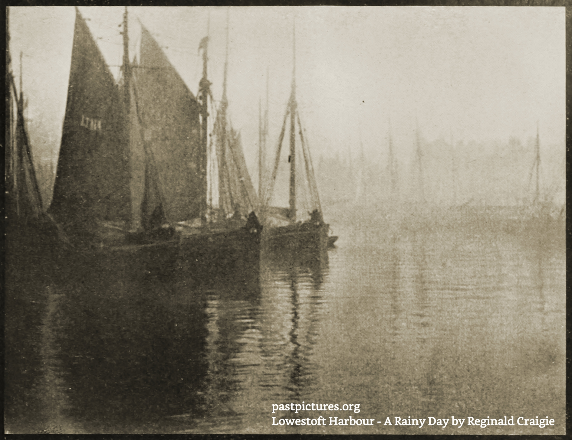 Lowestoft Harbour, England – A Rainy Day by Reginald Craigie about 1908