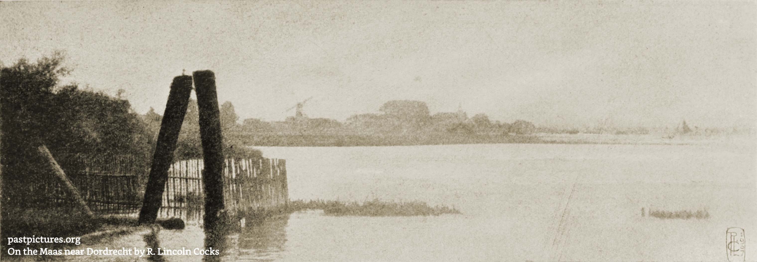 On the Maas near Dordrecht, Netherlands by R. Lincoln Cocks 1907